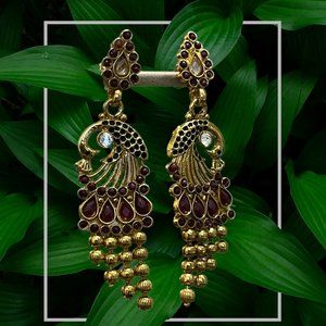 Peacock gold earrings with red & white stones